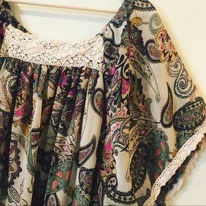 Just In🌸Dressbarn Boho Paisley Dolman Top crochet